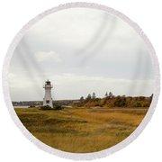 Coastline Of Prince Edward Island, Canada With Lighhouse Round Beach Towel