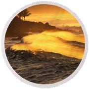Coastline Sunset Round Beach Towel