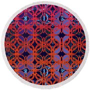 Cobalt Crimson Round Beach Towel