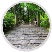 Cobblestone Path To Wood Bridge Round Beach Towel