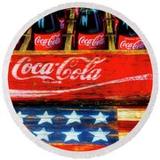 Coca Cola And Wooden American Flag Round Beach Towel