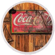 Coca Cola Barn Round Beach Towel
