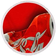Coca-cola Can Crush Red Round Beach Towel