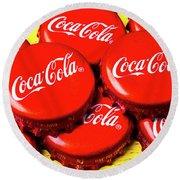 Coca Cola Caps Round Beach Towel