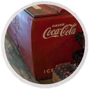 Coca-cola Chest Cooler General Store Round Beach Towel