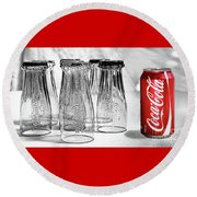 Coca-cola Glasses And Can - Selective Color By Kaye Menner Round Beach Towel