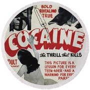 Cocaine Movie Poster, 1940s Round Beach Towel