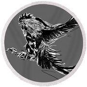 Cock Bw II Transparant Round Beach Towel