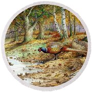 Cock Pheasant And Sulphur Tuft Fungi Round Beach Towel by Carl Donner