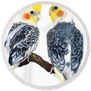 Cockatiels Round Beach Towel