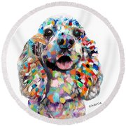 Cocker Spaniel Head Round Beach Towel