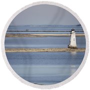 Cockspur Island Lighthouse With Jetty Round Beach Towel