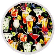 Cocktail Hour In The Tropics Round Beach Towel