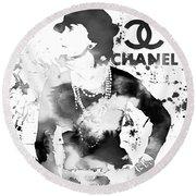 Coco Chanel Grunge Round Beach Towel