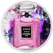 Coco Chanel Parfume Pink Round Beach Towel