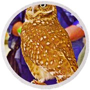 Coco The Burrowing Owl In Living Desert Zoo And Gardens In Palm Desert-california Round Beach Towel