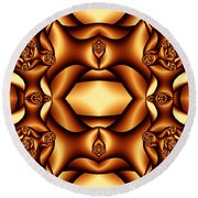 Cocoa Fractal Roses Round Beach Towel