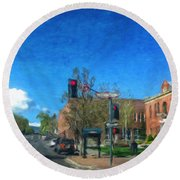 Coconino County Courthouse Round Beach Towel