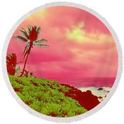 Coconut Palm Makai For Pele Round Beach Towel
