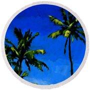 Coconut Palms 5 Round Beach Towel