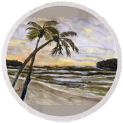 Coconut Palms On Cloudy Day Round Beach Towel