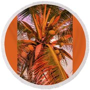Coconut Sunset Round Beach Towel