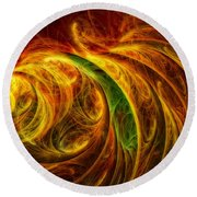 Cocoon Of Glowing Spirits Abstract Round Beach Towel