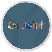 Coexist  Round Beach Towel