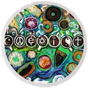 Coexisting With Coffee And Donuts Round Beach Towel
