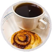 Coffee And Breakfast Roll Round Beach Towel