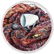Coffee And Cashmere Round Beach Towel