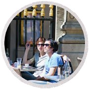 Coffee And Cigarettes Round Beach Towel