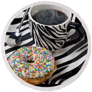 Coffee And Donut On Striped Plate Round Beach Towel