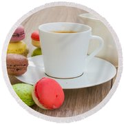 Coffee  And Macaroons Round Beach Towel
