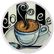 Coffee At The Cafe Round Beach Towel