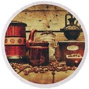 Coffee Bean Grinder Beside Old Pot Round Beach Towel