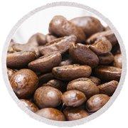 Coffee Beans Closeup Round Beach Towel