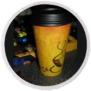Coffee Cup Series. Yellow And Orange. Round Beach Towel