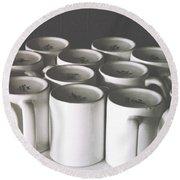 Coffee Cups- By Linda Woods Round Beach Towel