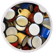 Coffee Cups Round Beach Towel