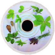 Coffee Delight Round Beach Towel