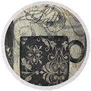 Coffee Flavors Gold And Black Round Beach Towel