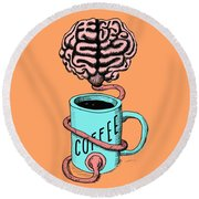 Coffee For The Brain Funny Illustration Round Beach Towel