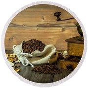 Coffee Grinder Round Beach Towel