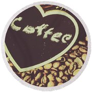 Coffee Heart Round Beach Towel