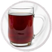 Coffee In Glass Mug Isolated On White Round Beach Towel