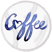 Coffee Love Typography Round Beach Towel