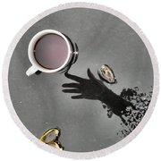 Coffee On Black Top Pond No. 5 Round Beach Towel