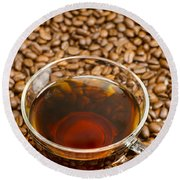 Coffee On Roasted Beans Round Beach Towel