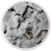 Coffee On The Rocks Round Beach Towel